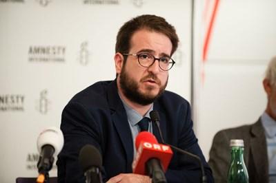 Aron Demeter, Amnesty International Ungarn. Pressekonferenz: Ein gefährlicher Trend, 7. September 2017 | © Amnesty International/Christoph Liebentritt