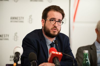 Aron Demeter, Amnesty International Ungarn. Pressekonferenz: Ein gefährlicher Trend, 7. September 2017 | © Amnesty International/Christoph Liebentritt