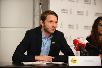 Philip Doyle. Pressekonferenz: Ein gefährlicher Trend, 7. September 2017 | © Amnesty International/Christoph Liebentritt
